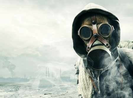 Doomsday Prepper in a Gas Mask
